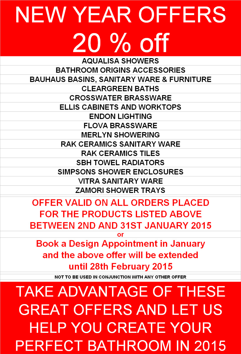 January bathroom sale 2015 kitchen and bathroom place for What s new in bathrooms 2015