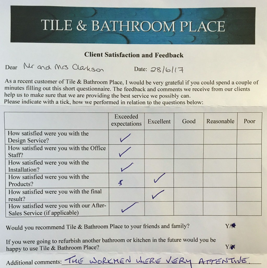 Mr & Mrs Clarkson feedback