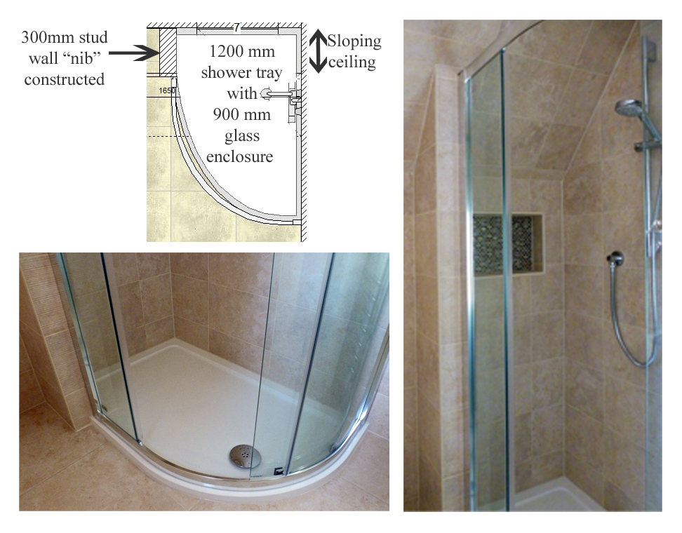 Sloping Ceiling Shower Enclosure Kitchen And Bathroom Place